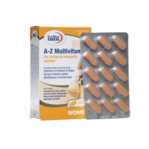 قرص A Z مولتی ویتامین بالای 50 سال بانوان یوروویتال 45 عددی